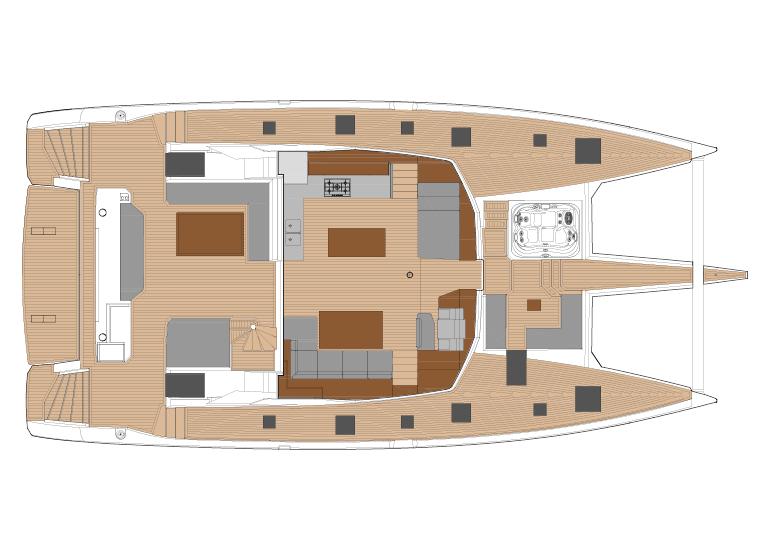 430 - Aménagement cockpit - carré cuisine en haut & descente maestro (site)